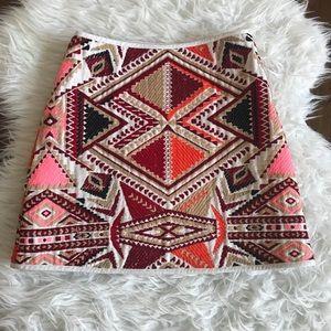 TOPSHOP Aztec Print Mini Skirt